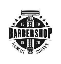 Barbershop emblem with safety razor vector