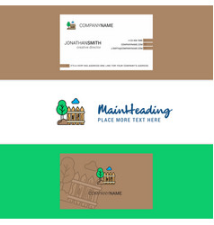 beautiful garden logo and business card vertical vector image