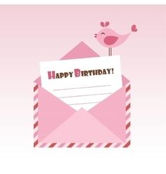 Birthday pink envelope with bird vector