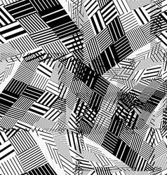 Black and white geometric stripy seamless pattern vector