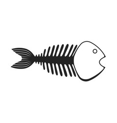 black skeleton fish icon scary fishbone anatomy vector image