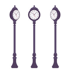 black street clock set vector image