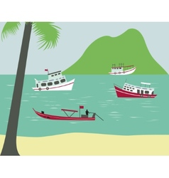Boats on tropical beach vector image
