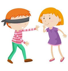 Boy being blind folded vector image