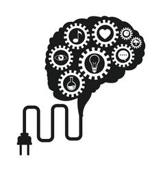 brain technology gears social media vector image