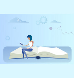 Business woman sitting at open book reading vector
