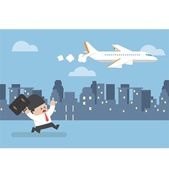 businessman who missed his flight running behind a vector image