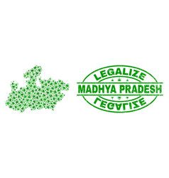 Cannabis leaves mosaic madhya pradesh state map vector