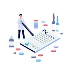 Cartoon doctor signing giant prescription form vector