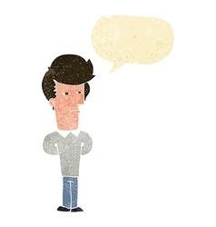 Cartoon jaded man with speech bubble vector