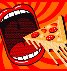 cartoon large open mouth with piece pizza vector image