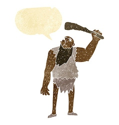 cartoon neanderthal with speech bubble vector image