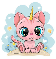 cartoon pink kitten with horn a unicorn vector image