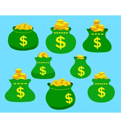 Cartoon set of money bags vector