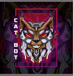 cat head robot esport mascot logo design vector image
