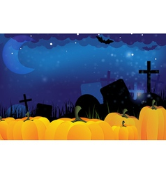 Cemetery and ripe pumpkins vector