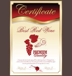 Certificate - best red wine vector