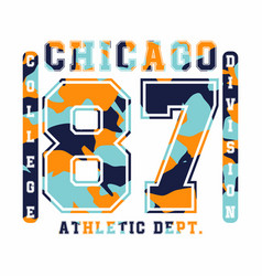 Chicago athletic department camouflage t-shirt vector