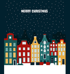 christmas decoration with winter town vector image