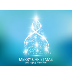 christmas tree from light background greeting vector image