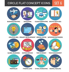 Circle Colorful Concept Icons Flat Design Set 6 vector image