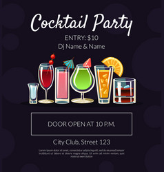 cocktail party banner template with place for text vector image