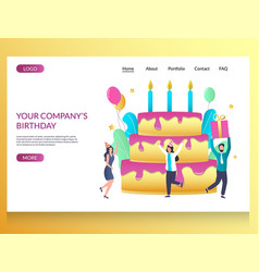 company birthday website landing page vector image