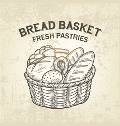 composition of bread basket sketch of vector image