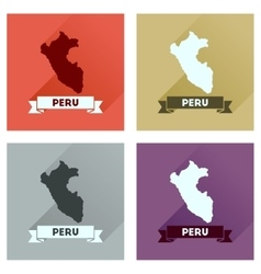 Concept of flat icons with long shadow Peru map vector