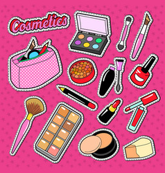 cosmetics perfume doodle with brush lipstick vector image