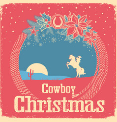Cowboy retro christmas card with cowboy lasso and vector