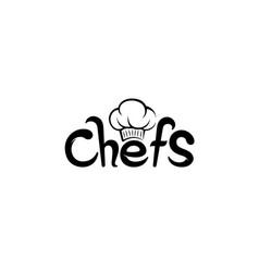 creative chef hat symbol text font letter logo vector image