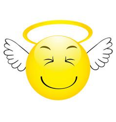 cute angel emoticon with wings emoji smiley vector image
