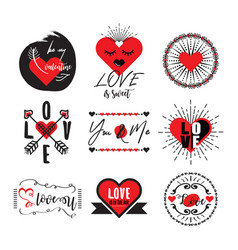 cute black and red heart love valentine emblem set vector image