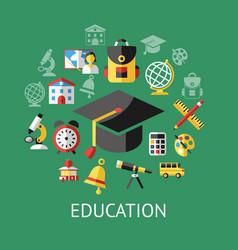 digital green school icons vector image