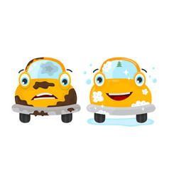 Dirty and clean car set flat modern vector
