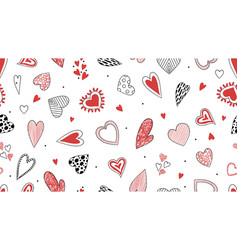 Doodle hearts pattern hand drawn decorative love vector