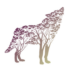 Double exposure wolf for your design vector