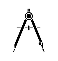 Drawing compass glyph icon vector