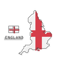 England map and flag modern simple line cartoon vector