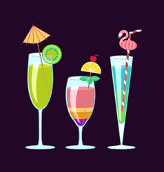 Exotic alcoholic cocktails vector