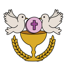First communion in chalice with doves vector