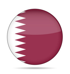 Flag of qatar shiny round button vector