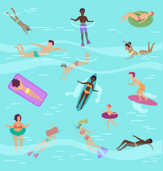 flat cartoon people in sea or ocean vector image