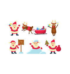 Flat set of colorful christmas icons funny vector