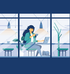 flat young girl with laptop in cafe at business vector image