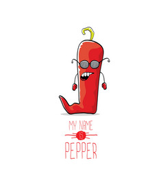 funny cartoon red pepper character isolated vector image