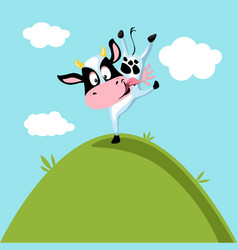 Funny cow dancing on green hill vector