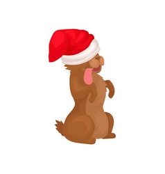 funny dog in santa hat sitting on hind legs puppy vector image