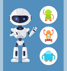 Futuristic humanoid and small mechanic robots set vector